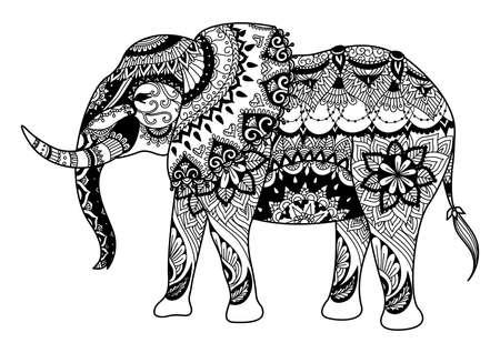 Mandala del elefante para colorear para los adultos, tatoo, diseño de la camiseta Foto de archivo - 55616979