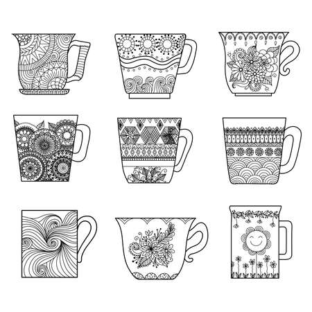 book pages: Tea cups line art design for coloring book for adult