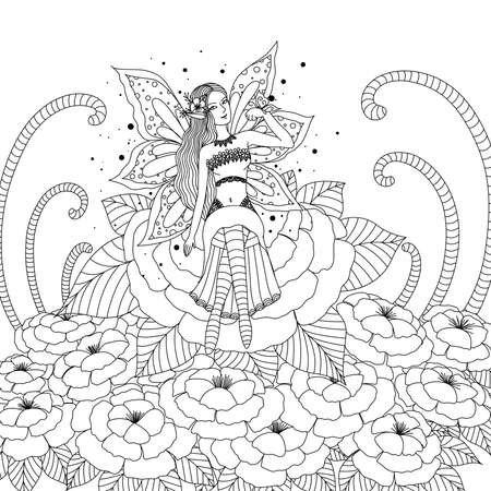 Fairy playing with butterfly in the flower forest for coloring book for adult