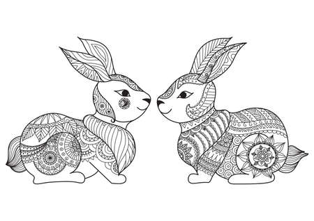 hand print: Two cute little rabbit line art design for coloring book, cards, t shirt design and so on Illustration