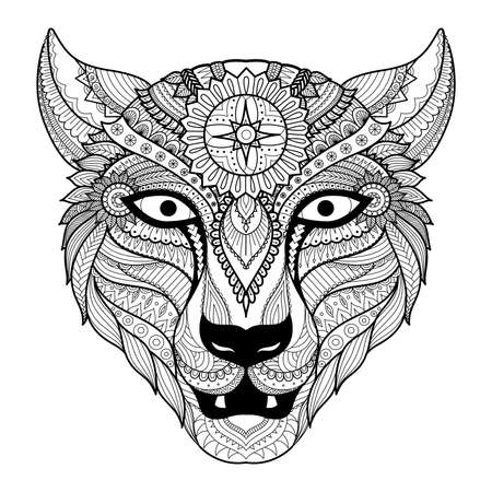 irbis: Leopard zentangle stylzed for coloring book for adult,tattoo , T- shirt design and so on Illustration