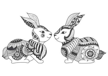 book pages: Two rabbits zentangle stylized for coloring book for adult, tattoo, t shirt design, cards and so on