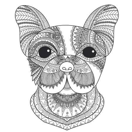 frances: cachorro de bulldog francés zentangle estilizada para el libro de colorante para los adultos, tatuaje, diseño de la camiseta y otras decoraciones Vectores