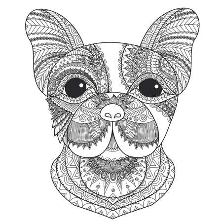 mandala background: French bulldog puppy zentangle stylized for coloring book for adult, tattoo, T-shirt design and other decorations