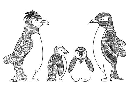 iciness: Penguins line art design for coloring book for adult