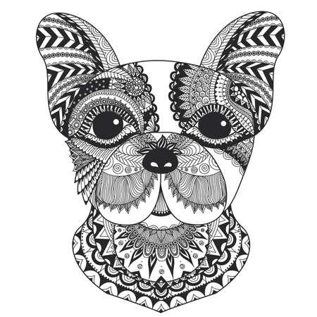 cachorro de bulldog francés zentangle estilizada para el libro de colorante para los adultos, tatuaje, diseño de la camiseta y otras decoraciones Ilustración de vector