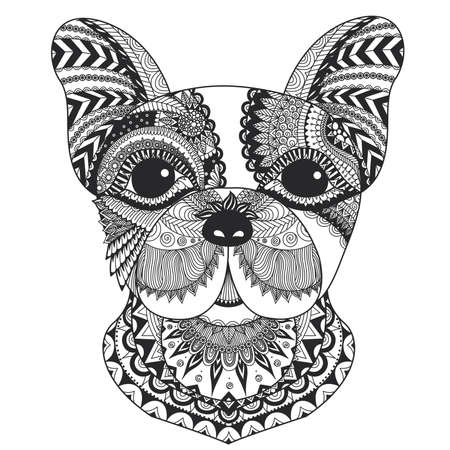 French bulldog puppy zentangle stylized for coloring book for adult, tattoo, T-shirt design and other decorations