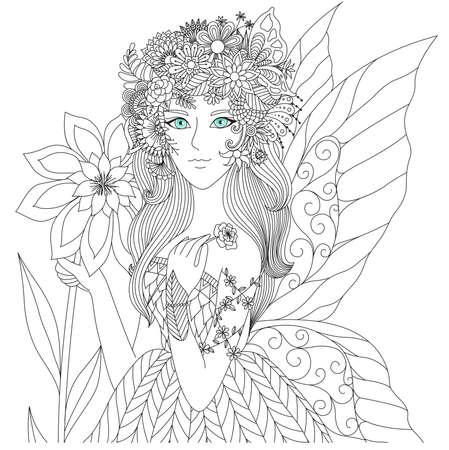 Dormir Hada En El Arte Del Diseño De Flores Línea Para Colorear ...