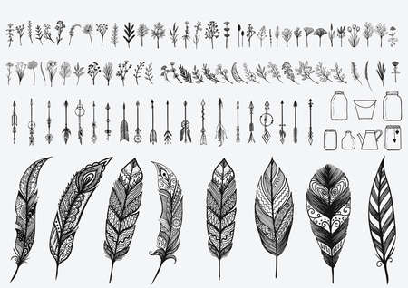 Hand drawn vintage design elements set including flowers,arrows,jars and zentangle feathers