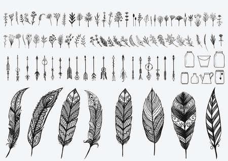 꽃, 화살표, 항아리와 zentangle 깃털을 포함하여 설정 손으로 그린 빈티지 디자인 요소 일러스트