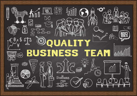 to partake: Hand drawn icons about Quality Business team on chalkboard