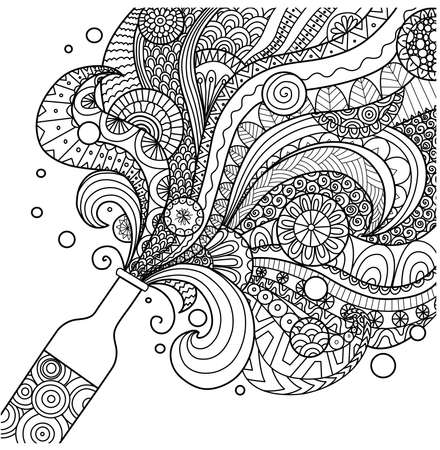 Champagne bottle line art design for coloring book for adult,poster, card and design element Vectores