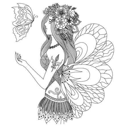 for women: Zentangle pretty girl looking at flying butterfly design for coloring book for adult