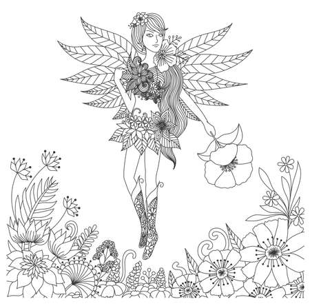 Hand drawn fairy flying in flower land for coloring book for adult Çizim