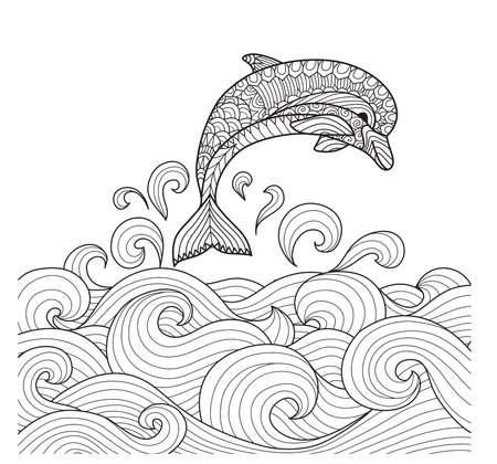 Dibujado A Mano Delfín Zentangle Con Las Olas Del Mar De ...