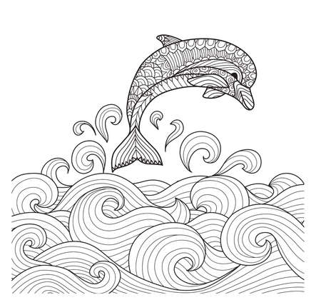 scrolling: Hand drawn zentangle dolphin with scrolling sea wave for coloring book for adult Illustration