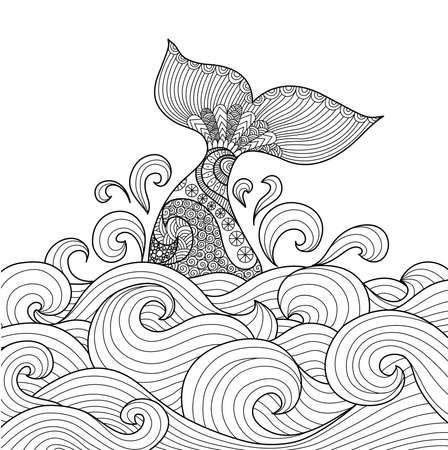 diving save: Whale tail in the wavy ocean line art design for coloring book fro adult,sign, logo, T-shirt design, card and design elelment Illustration