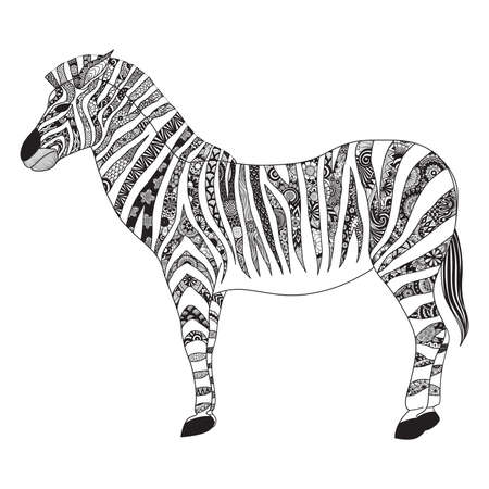 serengeti: Zebra zentangle stylized for T- Shirt design, sign, poster, coloring book for adult and design element