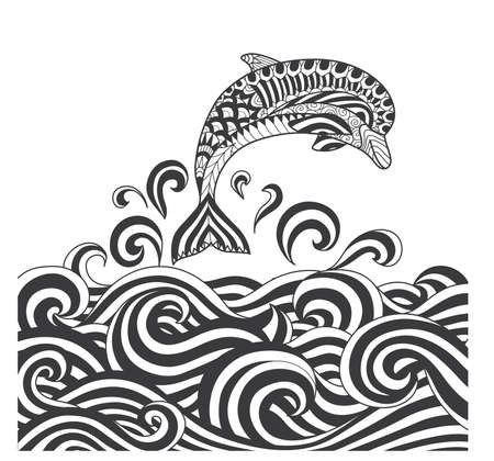 scrolling: Vector zentangle dolphins in scrolling sea wave for adult coloring page, book cover, poster, T shirt design and other decoration - Stock vector