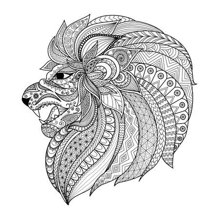 hand print: Lion head zentangle stylized for coloring book for adult, T- Shirt graphic, tattoo and so on