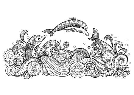Zentangle stylized of three dolphins swiming happily for coloring book, T- Shirt design and other decorations Vettoriali