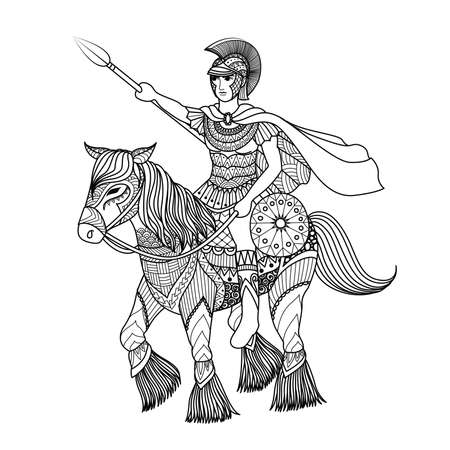 Zentangle stylized of knight holding a spear on a horse for coloring book, T- Shirt design and other decorations Ilustração
