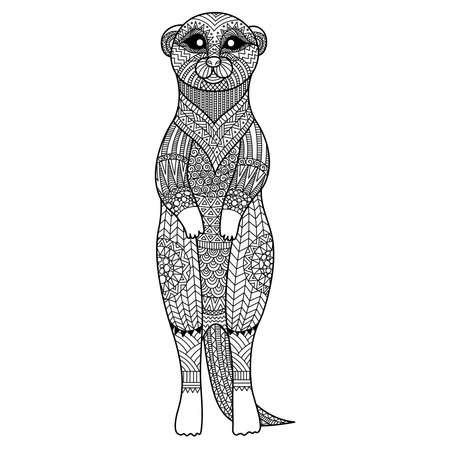 stylize: Meerkat standing art stylize for T - Shirt graphic, poster, coloring book for adult and so on