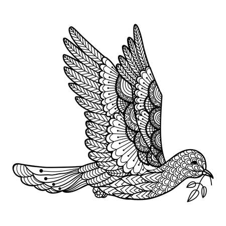 hopes: Dove carrying leaves line art design for , sign, poster, T-Shirt graphic, coloring book for adult