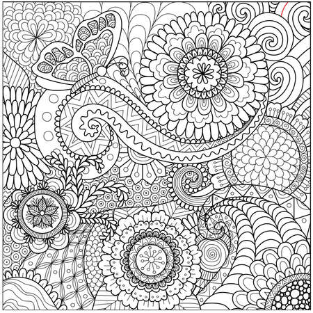 hand free: flowers and mandalas for coloring book for adult