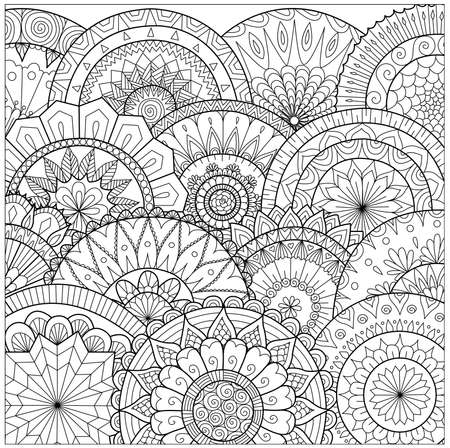 Bloemen en mandala lijntekeningen voor kleurboek voor volwassen, kaarten, en andere decoraties