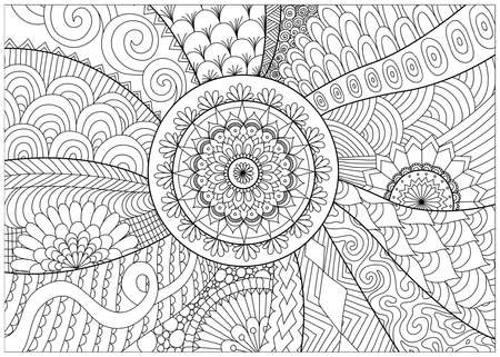 flowers and mandalas for coloring book for adult Imagens - 56391330