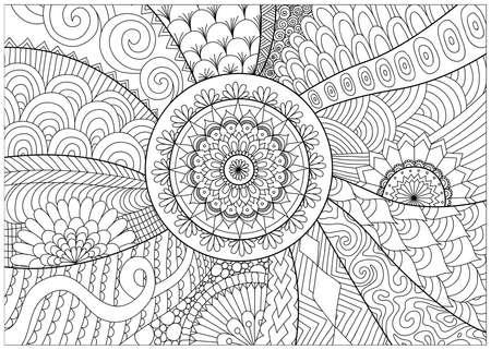 květiny a mandaly pro omalovánky pro dospělé Ilustrace