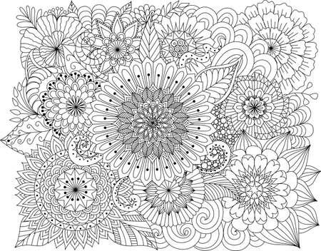 Blumen Und Mandalas Zum Ausmalen Für Erwachsene Lizenzfrei Nutzbare