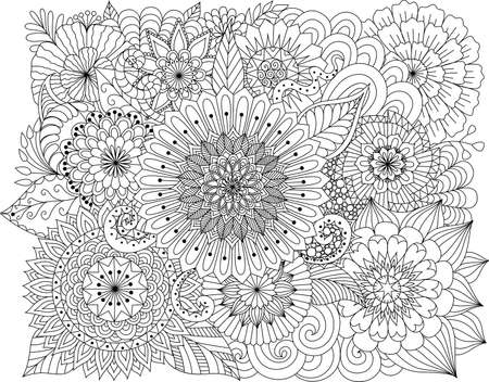 page: flowers and mandalas for coloring book for adult