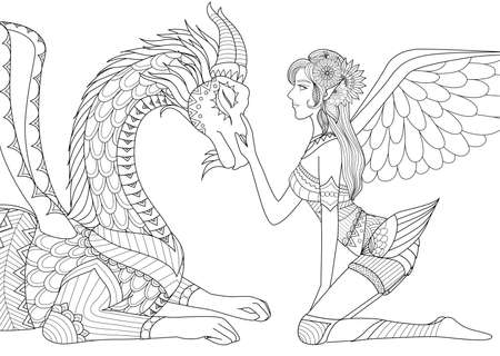 fairy with dragon for coloring book for adult Vectores