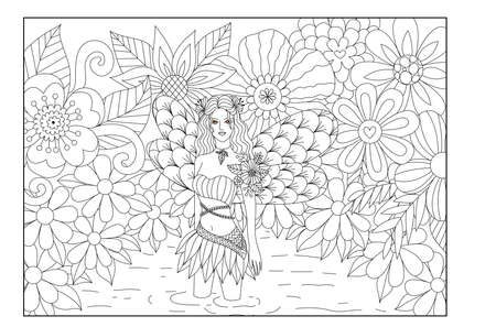 animal hair: fairy is in a pond line art design for coloring book