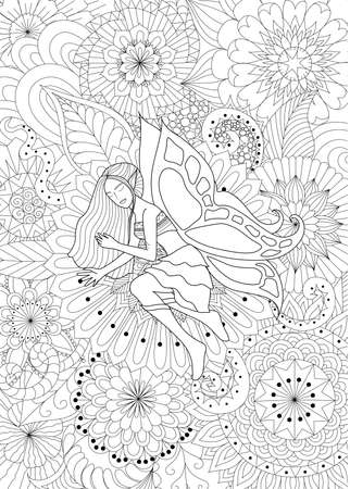 face female: Fairy sleeping on flowers line art design for coloring book for adult