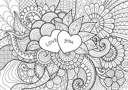 book pages: Two hearts with words LOVE YOU laying on flowers , for coloring book for adult, wedding cards and so on Illustration