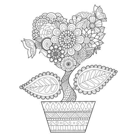 Bloemen in hartvorm op een pot, voor het kleuren van boek voor volwassen, kaarten, tattoo, T-shirt graphics en ga zo maar door