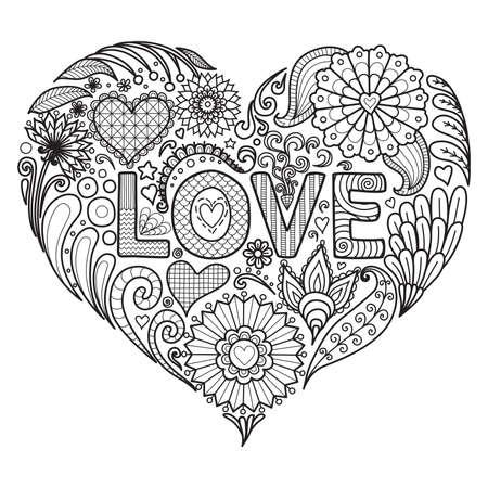 Bloemen en teksten LOVE in hartvorm ontwerp voor kleurboek voor volwassen, kaarten en ga zo maar door