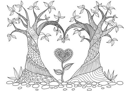 Two trees bend into heart shape line art design for coloring book, cards, T - Shirt design and other decorations Illustration