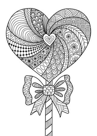 anti stress: Heart lollipop line art design for coloring book for adult, cards, T- Shirt design and other decorations