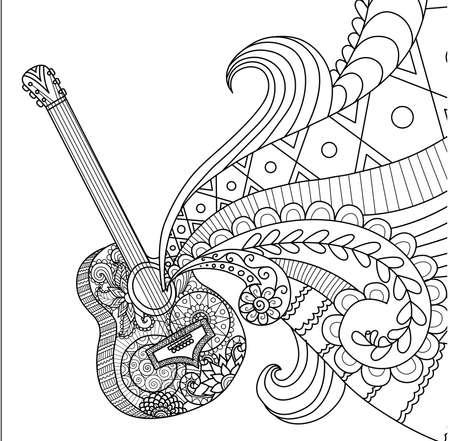 Line art design van de gitaar voor kleurboek