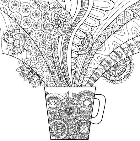 Line art design of a mug of hot drink for coloring book for adult and other decorations Vectores