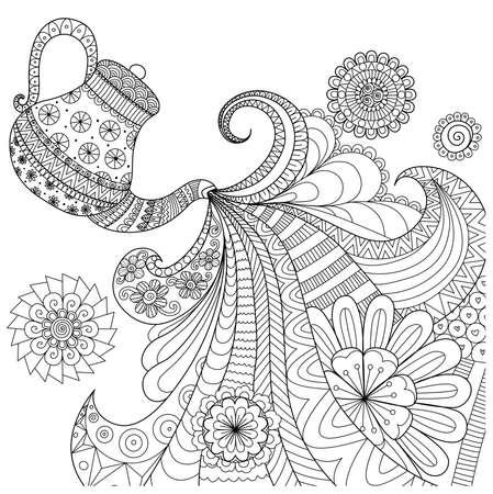 conception d'art de la ligne de théière de thé verser pour le livre de coloriage pour les adultes et autres décorations