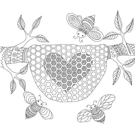 book pages: Line art design of honey bees flying around beehive for coloring pages for adult