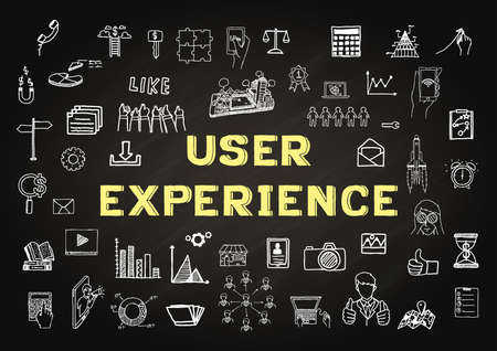 Hand drawn icons about USER EXPERIENCE on chalkboard