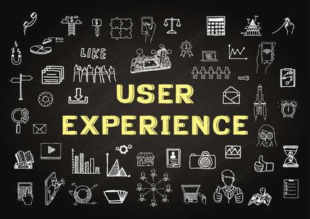 Ręcznie rysowane ikony o Użytkowniku doświadczenie na tablicy