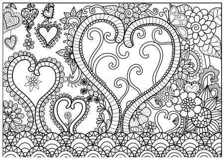 Heart forest line art for coloring book for adult and cards Illustration