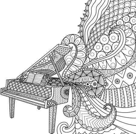 Doodles design of piano for coloring book for adult, poster, cards, design element, T- Shirt graphic and so on